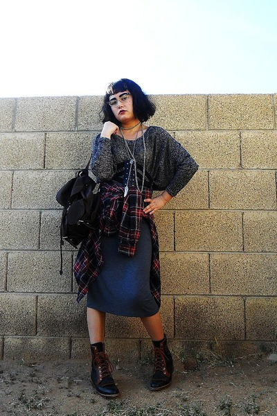 brown leather vintage boots - brick red plaid button-up moms old shirt - dark br