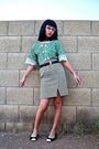 Green-vintage-handmade-blouse-white-thrifted-skirt-blue-anne-klein-belt-bl