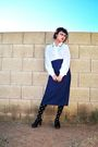 Blue-thrifted-skirt-white-vintage-blouse-black-forever-21-stockings-black-
