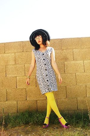 white button-up thrifted dress - pink jelly wedge shoes - black hat