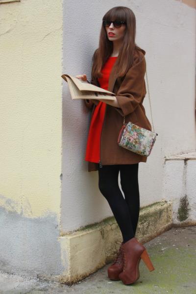 brown Jeffrey Campbell boots - ruby red Zara dress - camel Bimba & Lola bag - br