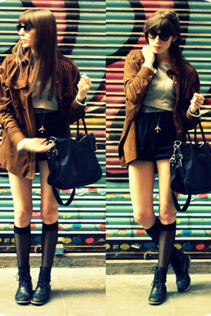 black leather Zara boots - bronze leather jacket Mango shirt - black denim short