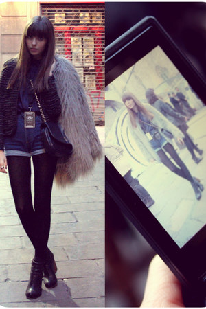heels Jeffrey Campbell boots - fur Zara coat - tweed Zara jacket