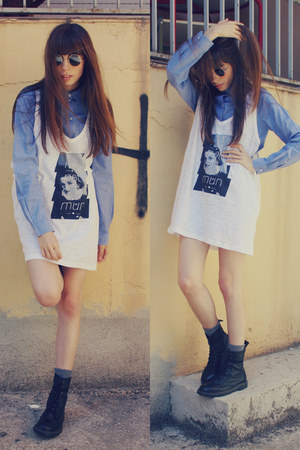 denim H&M blouse - leather Dr Martens boots