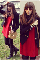 RED + BLACK + CAMEL OUTFIT