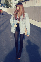 denim H&M jacket - leather Miriam Ponsa boots - neutral leather Zara bag