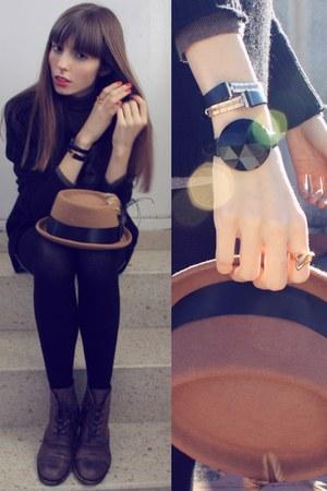 brown bowler hat Bimba & Lola hat - dark brown leather Zara boots