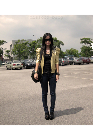 gold Miss OCD jacket - blue Miss OCD jeans - black Miss OCD shoes - black uk acc