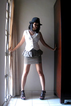 flea market hat - uk skirt - Miss OCD top - Ugly Duckling vest - online shoes - 