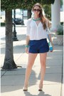 White-shirt-blue-pleated-shorts