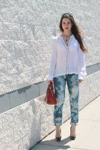 DIY jeans - versace bag - Christian Louboutin heels - ALC blouse