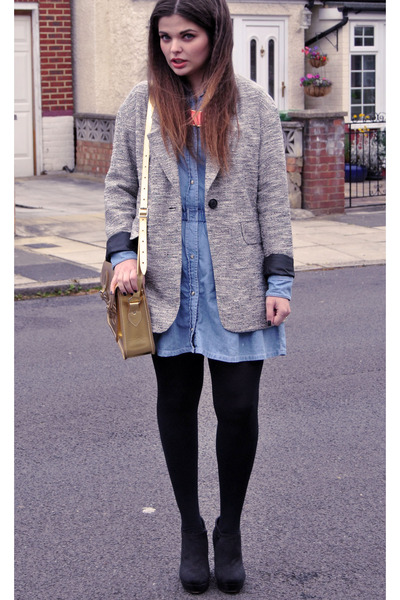Topshop coat - Topshop dress - asos bag - salt &amp; pepper wedges