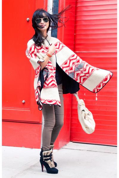 black misspouty boots - red Zara coat - tan misspouty leggings