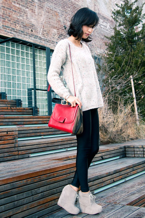 Steve Madden wedges - misspouty sweater - silvana Fendi bag