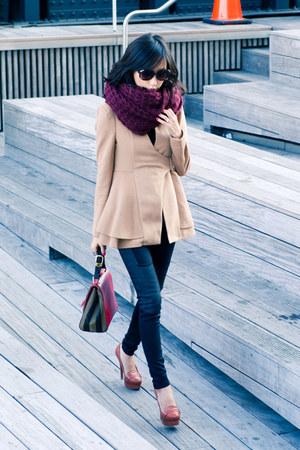 camel misspouty jacket - black misspouty leggings - tawny loafers Schutz heels