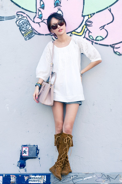 white misspouty top - brown Minnetonka boots - light pink Prada bag