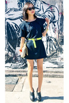 yellow neon misspouty belt - black misspouty dress