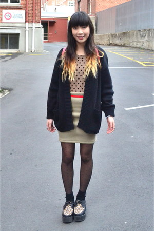 OASAP shoes - black wool thrifted cardigan - camel knit self-made skirt