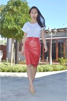 red leather vintage skirt - striped t shirt OASAP shirt