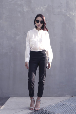 button up H&M shirt - black OASAP sunglasses - black trousers COS pants