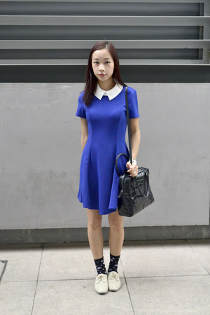 blue blue collared OASAP dress - beige oxfords Glassons shoes