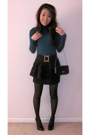 top - skirt - belt - tights - shoes - purse
