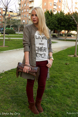 burnt orange Loeds bag - beige Mango t-shirt - brick red Primark pants