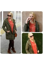 carrot orange pull&bear dress - army green zalando jacket