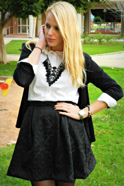 black handmade skirt - off white Zara shirt - black Sfera necklace