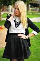 black handmade skirt - off white Zara shirt - black Sfera necklace