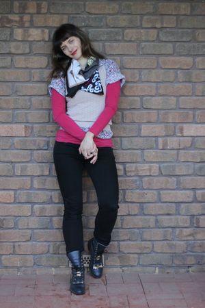 red Witchery top - pink borrowed blouse - beige Kookai vest - blue Sportsgirl sc