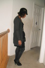 Black-hat-gray-cardigan-black-dress-gold-belt-gray-target-tights-black