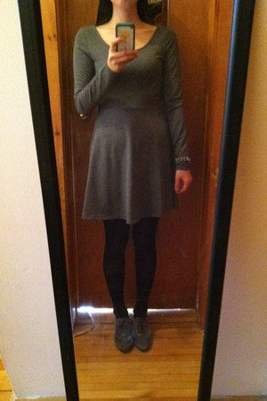 black black and white Forever 21 cardigan - charcoal gray skater H&M dress