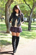 black Zara boots - black Zara coat - ruby red Zara shorts