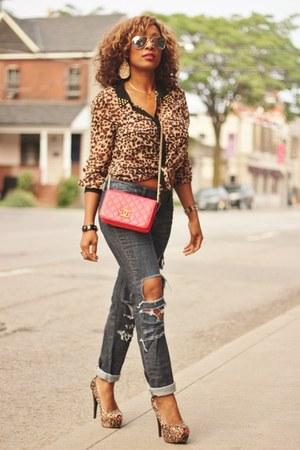 H&M DIY Distressed jeans - Forever 21 shirt - Chanel purse - UrbanOG Qupid pumps