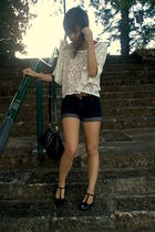 red top - white top - black shorts - brown belt - black Aldo shoes - black FCUK