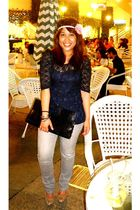 blue orion street blouse - gray Uniqlo jeans - pink Forever 21 accessories