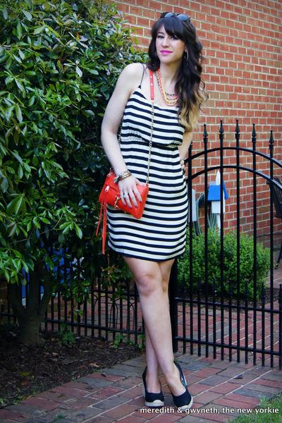 chain neon CC Skye necklace - silk striped J Crew dress