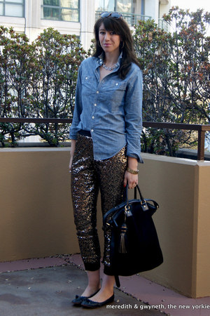 sequined Nordstrom pants - chambray J Crew shirt