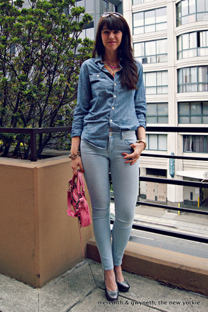 skinny Articles of Society jeans - chambray J Crew shirt
