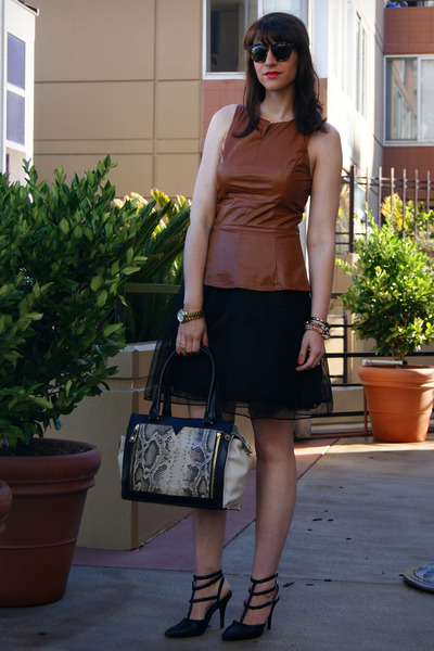 leather peplum piperlime top - snake satchel Vince Camuto bag