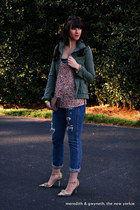 army Old Navy jacket - boyfriend J Crew jeans - lace bandeau Top Secret bra