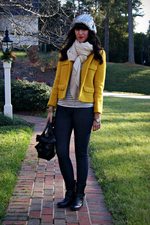boucle J Crew blazer - ryder J Crew boots - sequin beanie Urban Outfitters hat