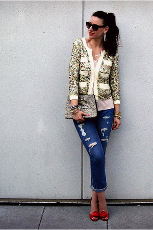 sequined Phillip Lim blazer - boyfriend J Crew jeans - kate spade bag