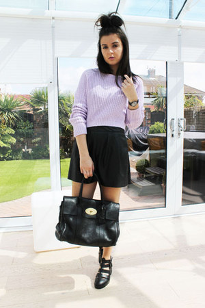 black Mulberry bag - black Missguided shorts - light purple Missguided jumper