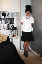 next skirt - new look necklace - Topshop t-shirt - Miss Selfridge heels