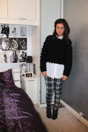 River Island boots - Dorothy Perkins leggings - H&ampM shirt - Topshop cardigan