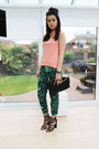 Black-river-island-bag-green-missguided-pants-salmon-warehouse-top