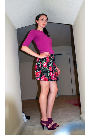 pink BP cardigan - Macys skirt - purple Madden Girl shoes