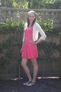 Pink-vintage-boutique-dress-beige-nordstrom-cardigan-brown-payless-shoes-b